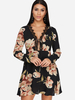 Clothing Black Lace Details Random Floral Print V-neck Long Sleeves Dress