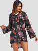 Clothing Black Random Floral Print Bell Sleeves Loose Dress