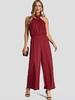 Clothing|Women's Fashion Burgundy Backless Design Halter Wide leg Jumpsuit