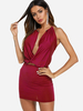 Clothing Burgundy Twist Design Backless Halter Sleeveless Sexy Dress