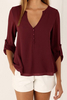 Clothing|Formal Wear Burgundy V-neck Long Sleeves Chiffon Shirt
