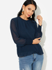 Clothing|Women's Navy Mock Neck Sheer Mesh Ruffle Long Puff Sleeve Blouse