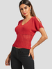 Clothing Red V-neck Cutout Cold Shoulder Ripped Knit Top