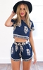 Cupshe Demure Navy Floral Crop Top and Shorts