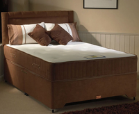 Divan Beds  - Ashford Small Double 4ft Faux Suede Divan Set no drawers brown faux suede headboard - no thank you