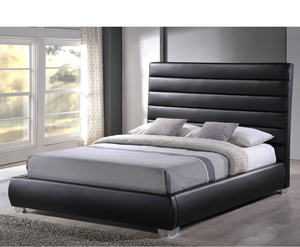 Small Double Frame  - Chantry Small Double 4ft Black Faux Leather Bed