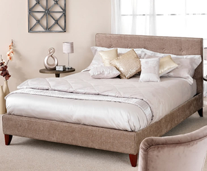 Small Double Frame  - Charlee Small Double 4ft Fudge Upholstered Bed mahogany leg finish