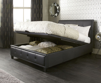 Ottoman Beds  - Cherish Small Double 4ft Black Faux Leather Ottoman Bed
