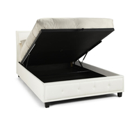 Ottoman Beds  - Cherish Small Double 4ft White Faux Leather Ottoman Bed