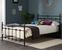 Small Double Frame  - Cosenza Small Double 4ft Black Metal Bed
