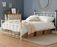 Small Double Frame  - Cosenza Small Double 4ft Light Cream Metal Bed