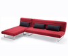 Declan 112cm Red Fabric Sofa Bed and Chaise sofa bed + chaise