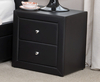 Dunbar Black Faux Leather 2 Drawer Bedside Chest
