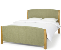 Keats Small Double 4ft Mint Upholstered Bed honey oak posts