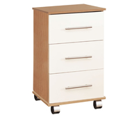Bedside Tables  - Watson High Gloss Bedside Chest base unit - oak drawer fronts - cream high gloss