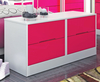 Amelia Hot Pink Gloss Bed Box Chest base unit - white high gloss drawers - pink