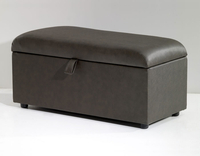 Chests  - Anadia 90cm Faux Leather and Suede Ottoman faux leather black