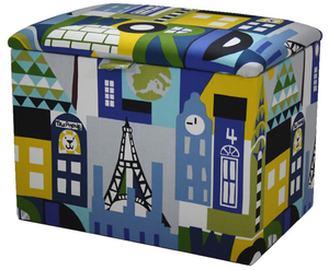 Chests  - Around The World Upholstered Toy Box small toy box
