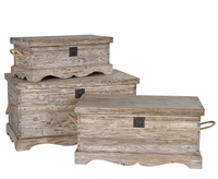 Chests  - Colonial Set of 3 Reclaimed Pine Blanket Boxes