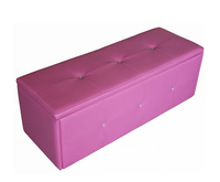 Chests  - Diamond Pink Faux Leather Ottoman assembly - no thank you