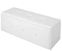 Chests  - Diamond White Faux Leather Ottoman assembly - no thank you