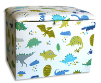 Chests  - Dino Small Denim Upholstered Toy Box *Special Offer* small toy box denim dinosaur fabric