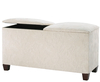 Normandy Faux Leather and Suede Twin Lid Ottoman faux suede cream ebony legs