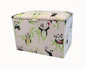 Panda Small Pink Upholstered Toy Box *Special Offer* small toy box panda pretty pink panda fabric