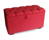 Chests  - Rennes Red Linen Buttoned Upholstered Ottoman *Special Offer* medium ottoman linen - garnet red mahogany feet
