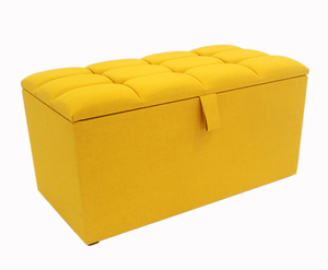 Turino Buttoned Top Upholstered Ottoman small - 90cm turin mustard