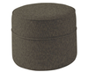 Wells Round Upholstered Pouffe faux suede chocolate