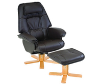 Armchairs  - Avanti Black Swivel Recliner Chair chair and stool
