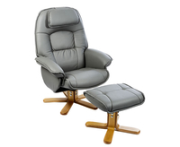 Armchairs  - Avanti Grey Bonded Leather Swivel Recliner Chair chair and stool