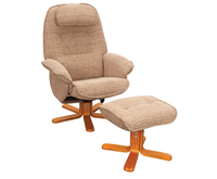 Armchairs  - Avanti Mocha Chenille Swivel Recliner Chair chair and stool