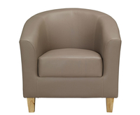 Armchairs  - Brennan Taupe Faux Leather Tub Chair