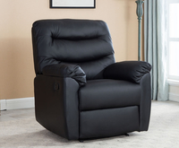 Armchairs  - Bridford Black Faux Leather Manual Recliner