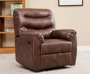 Armchairs  - Bridford Bronze Brown Faux Leather Manual Recliner