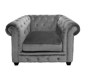 Clarence Grey Velvet Sofa Chair