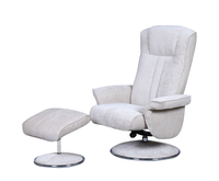 Armchairs  - Dolan Beige Velour Fabric Swivel Chair and Foot Stool chair and stool