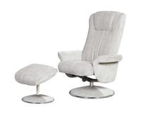 Armchairs  - Dolan Silver Velour Fabric Swivel Chair and Foot Stool chair and stool