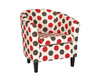 Panda Dolce Red Tub Chair dark wooden legs