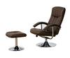 Armchairs Portland Brown Faux Leather Swivel Chair and Footstool *Special Offer*