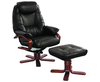 Senado Chocolate Bonded Leather Swivel Chair and Foot Stool chair and stool