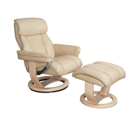 Armchairs  - Veronica Cream Genuine Leather Swivel Chair and Foot Stool chair and stool
