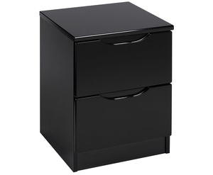 Bedside Tables  - Vogue 2 Drawer High Gloss Bedside Chest base unit - black high gloss front - black