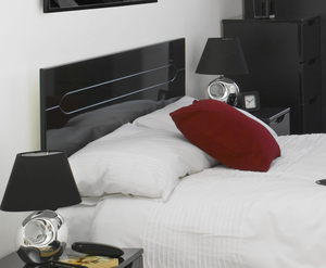 Headboards  - Vogue Black High Gloss Wooden Headboard double size - 4ft 6