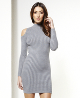 Ladies|Dresses|trunk top  - Abigail High Neck Knitted Cold Shoulder Bodycon Dress