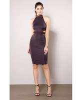 Dresses  - Katie High Neck Midi Dress with Cut Out