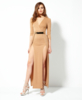 Kylie Plunge Neck Belted Maxi Dress