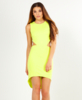 Lena Chartreuse High Low Bodycon Dress With Open Back